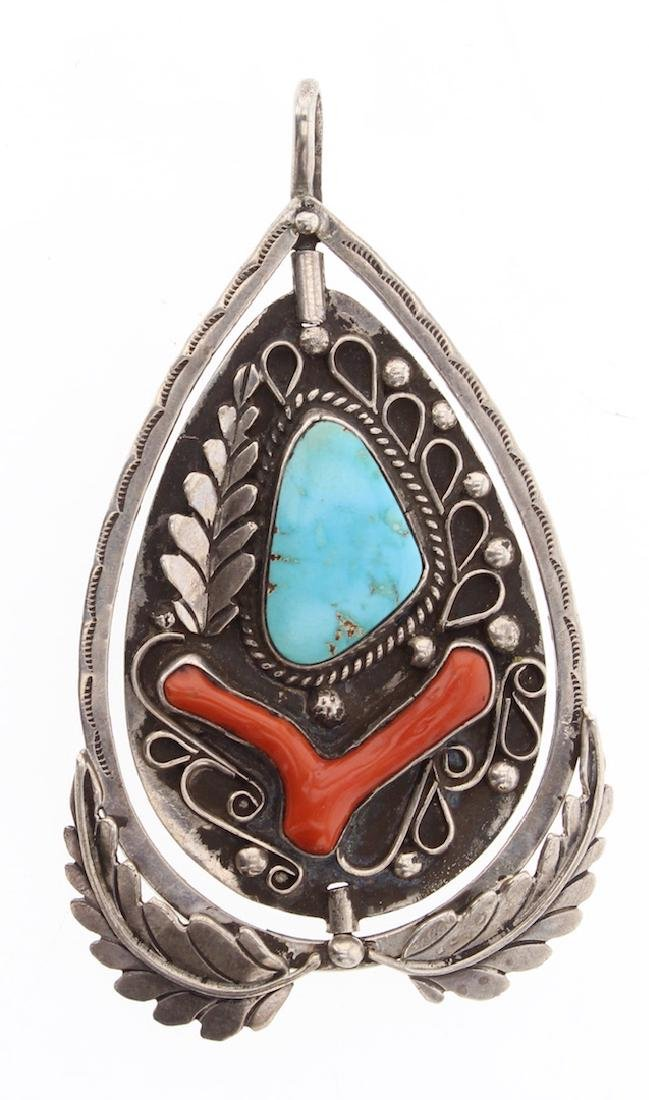 Vintage Old Pawn Turquoise & Coral Double Sided Spin