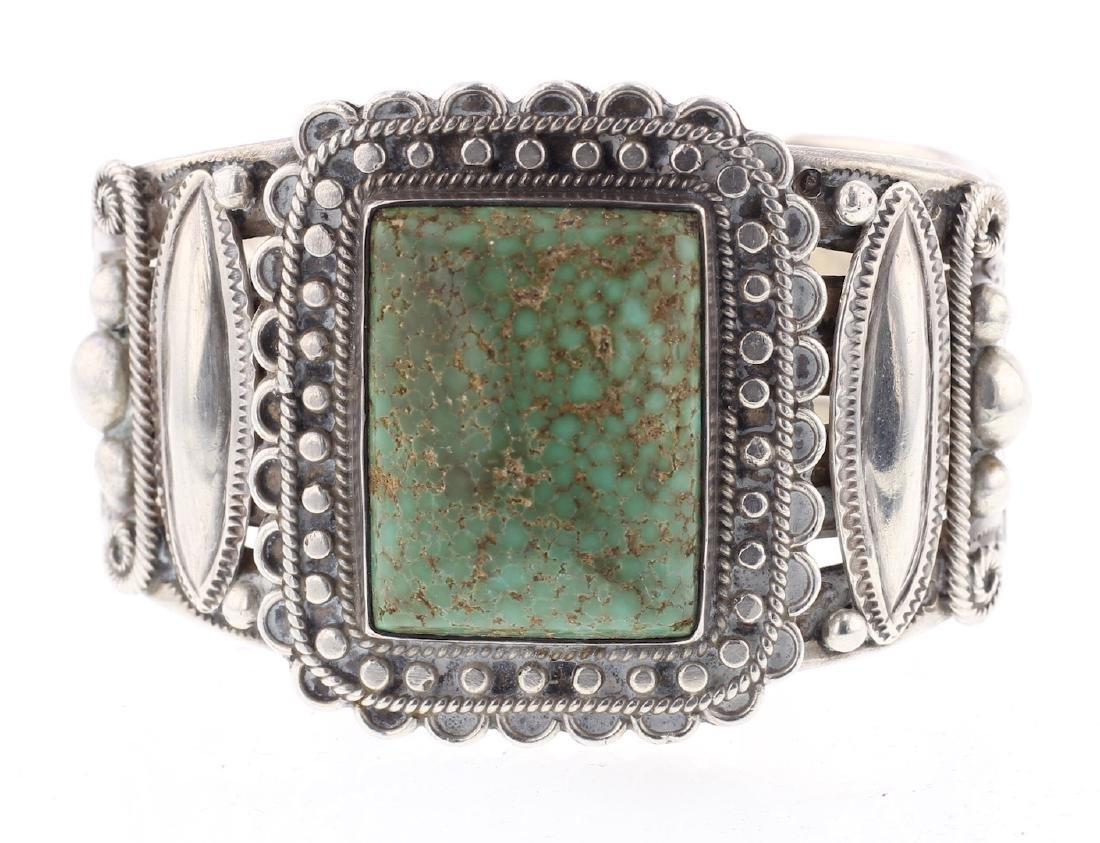 Vintage Old Pawn Large Stone Heavy Stamp Bracelet