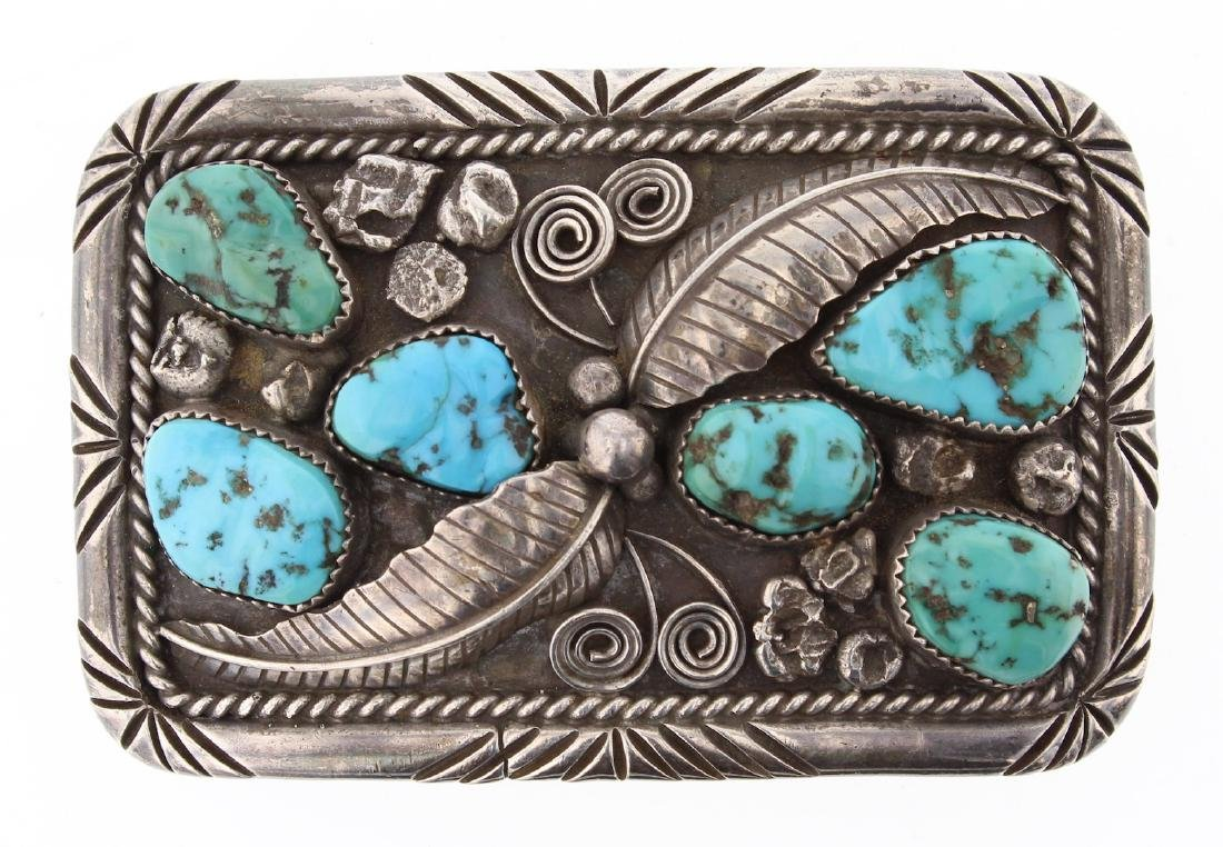Vintage Old Pawn Turquoise Belt Buckle