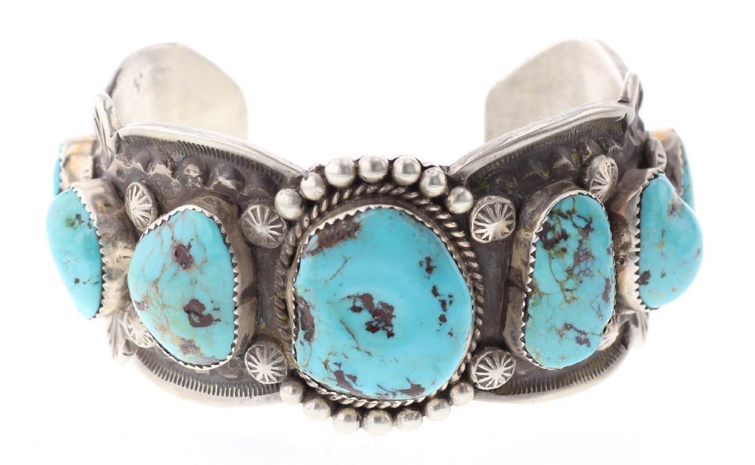 Turquoise Vintage Heavy Stamp Bracelet