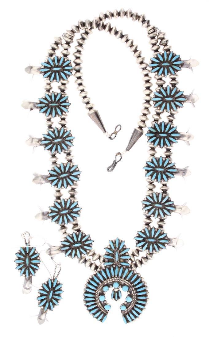 Sleeping Beauty Turquoise Vintage Needlepoint
