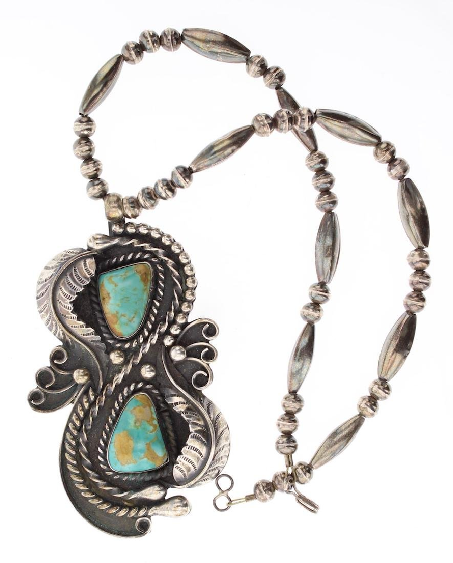 Vintage Turquoise Old Pawn Leaf Pendant & Necklace