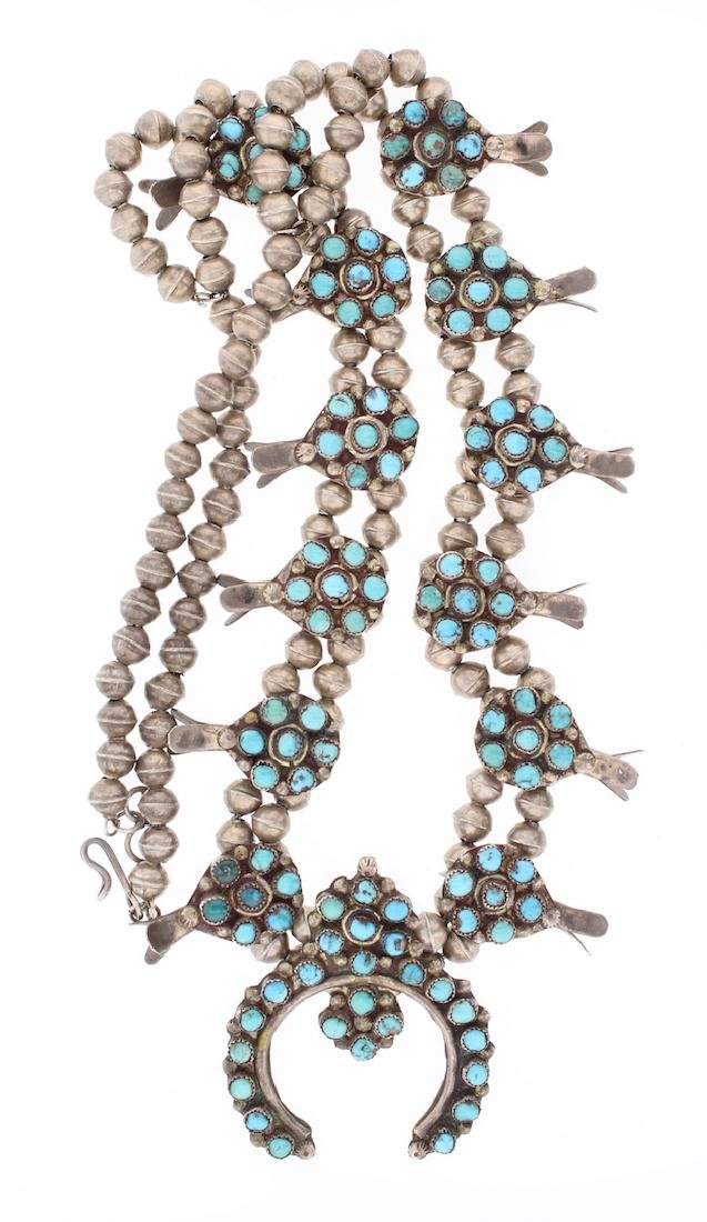 Old Pawn Turquoise Antique Squash Blossom Necklace