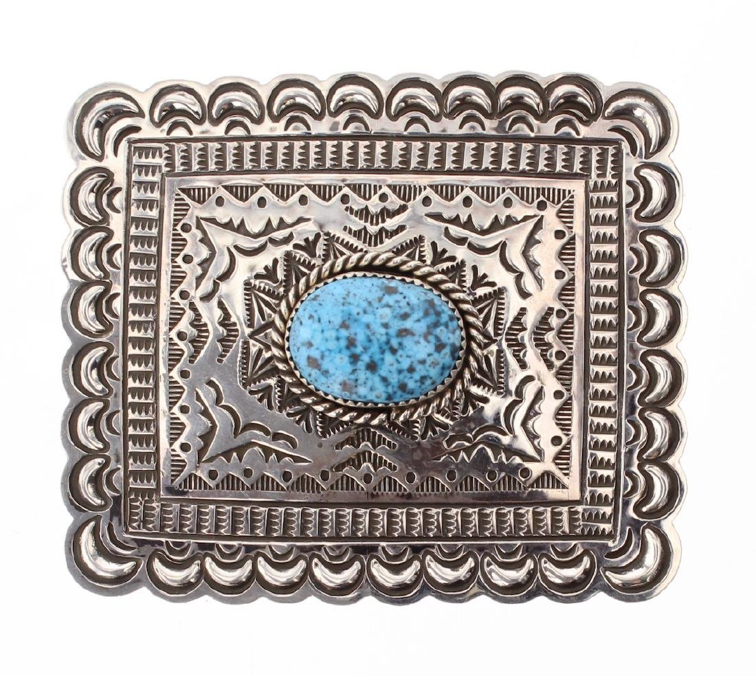 Old Pawn Vintage Kingman Turquoise Belt Buckle