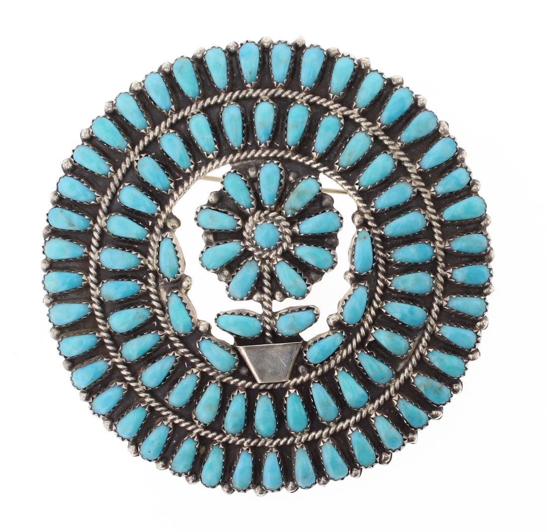 LMB Vintage Old Pawn Turquoise Cluster Pin