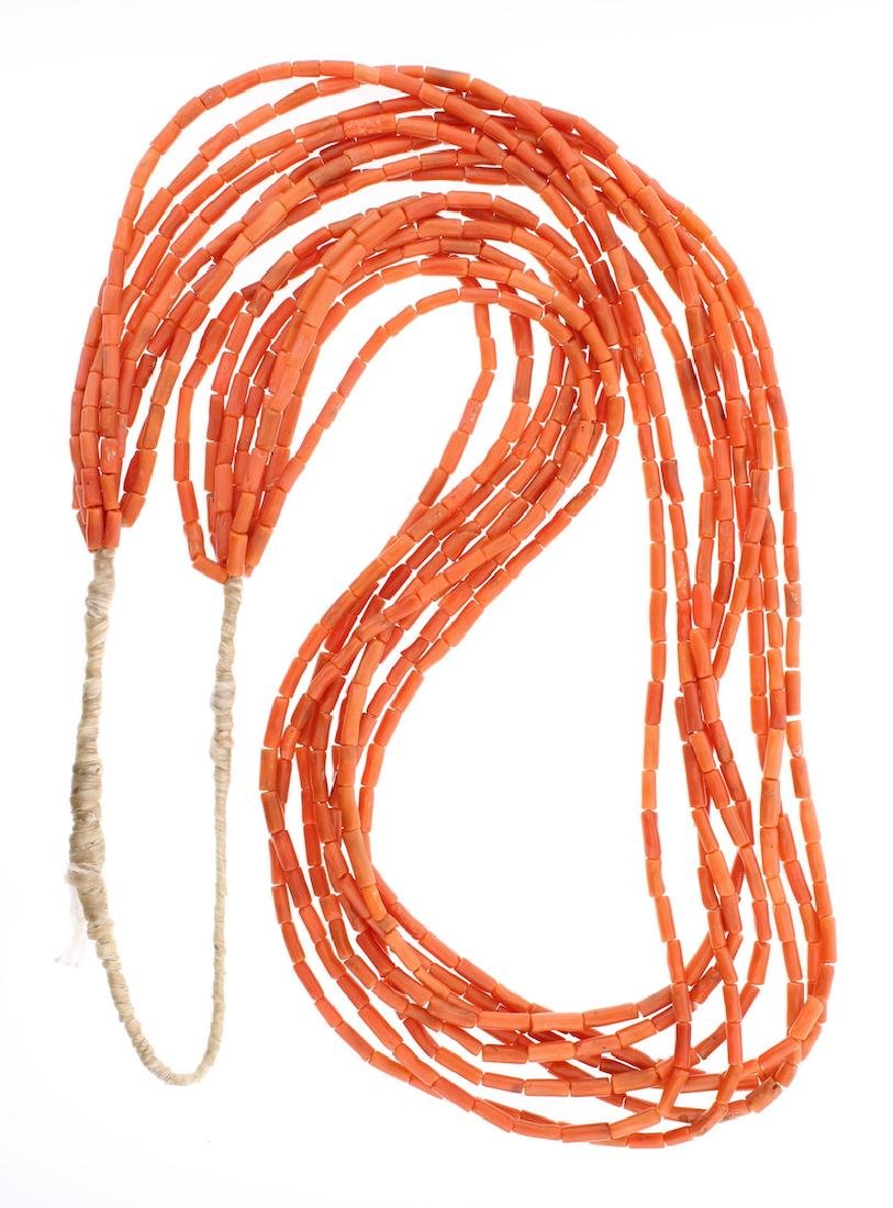 Coral Vintage Heishi 8 Strand Coral Necklace