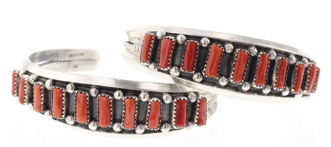 Vintage Coral Row Bracelet Set of 2