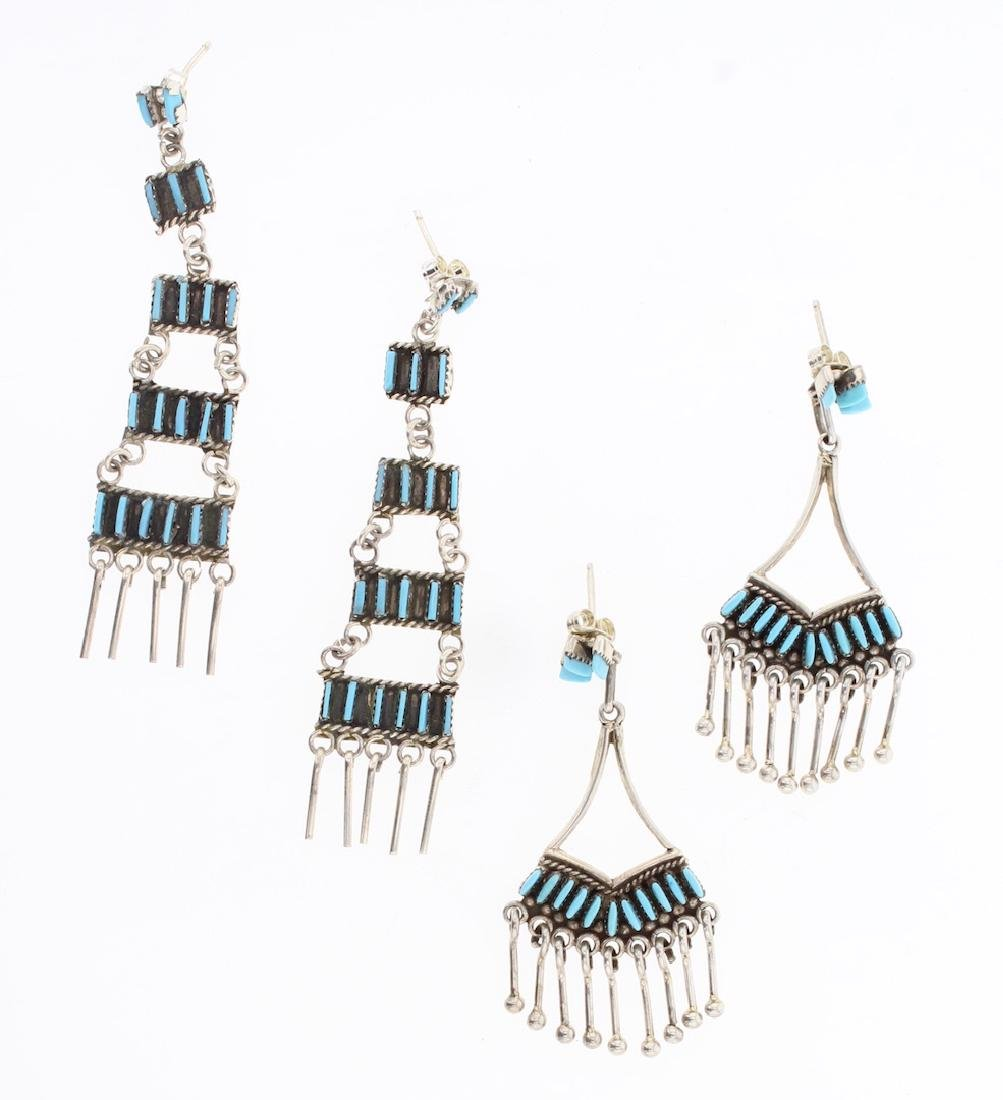 Vintage Petite Point Zuni Earrings Set of 2
