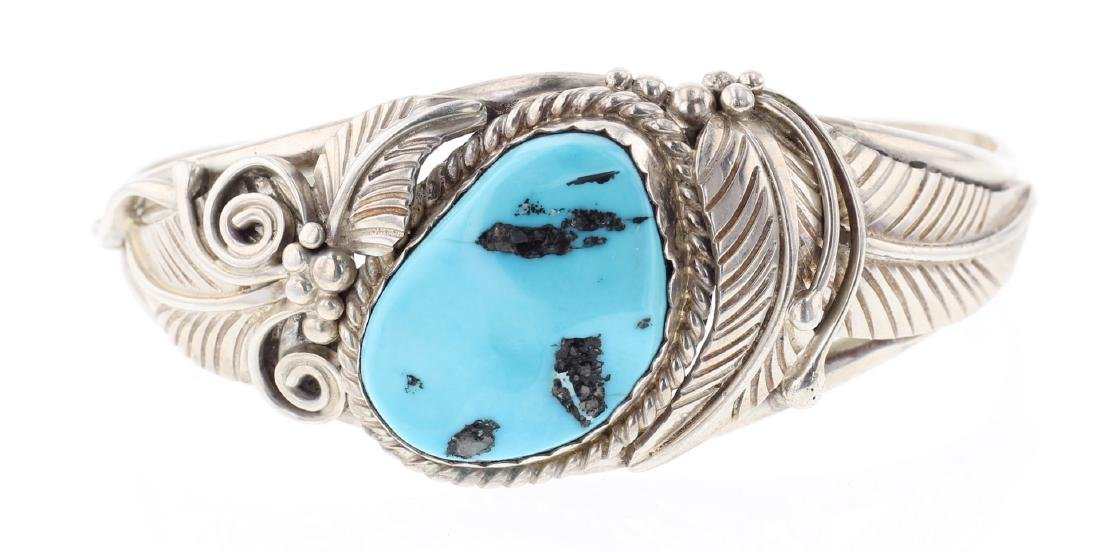 Vintage Turquoise Feather Bracelet