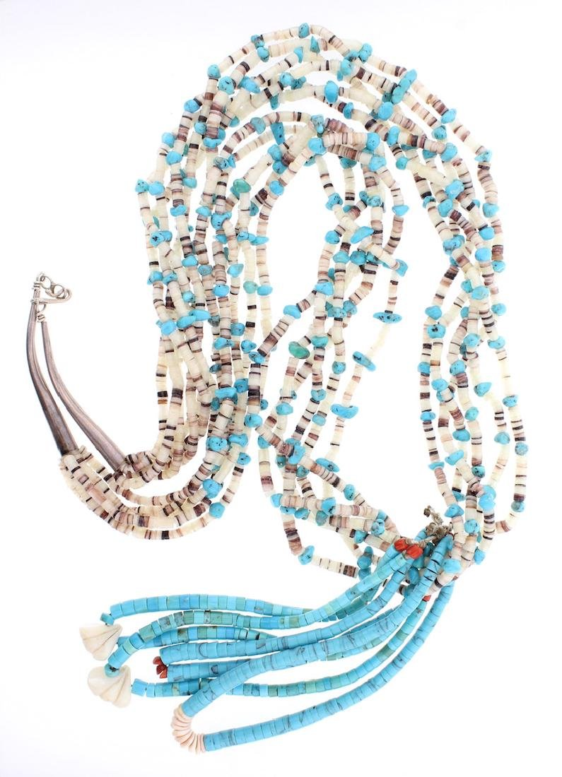 Vintage Turquoise Multi Strand Jacla Necklace