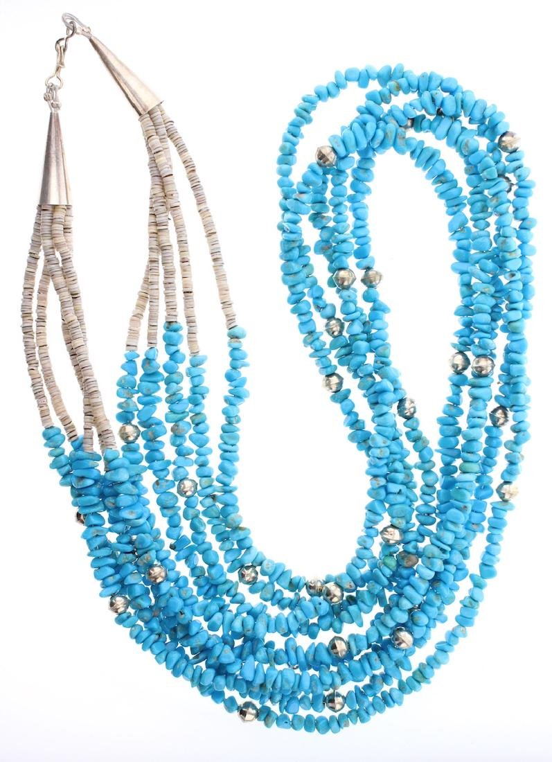 Multi Strand Turquoise Chip Heishi   Necklace