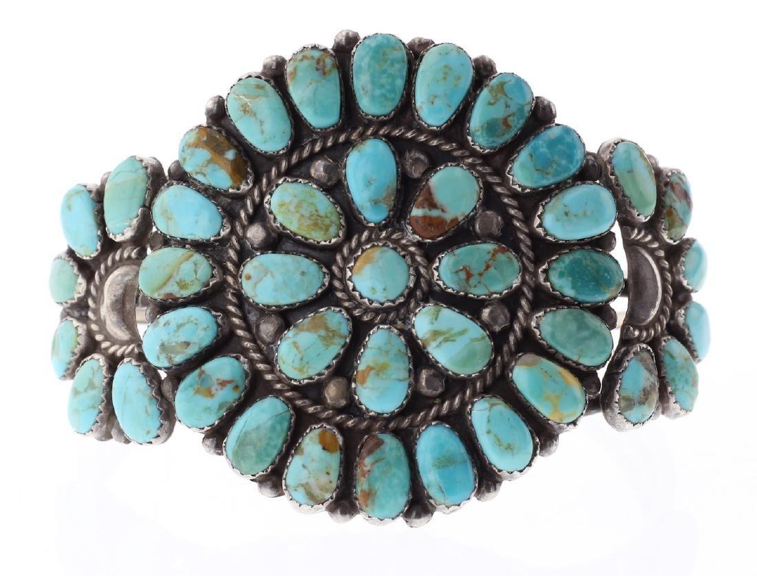Turquoise Vintage Old Pawn Cluster Bracelet