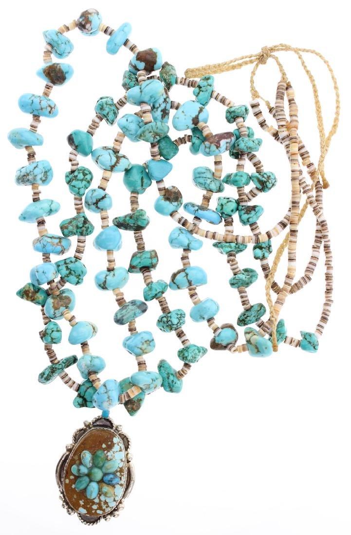 Vintage Pendant & Turquoise Heishi Necklace