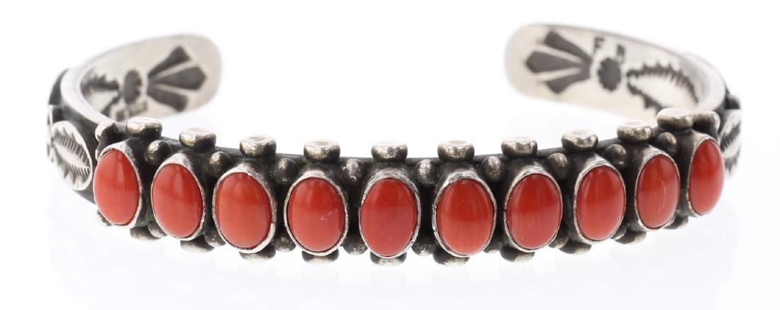 Ox Blood Coral Heavy Stamp Row Bracelet