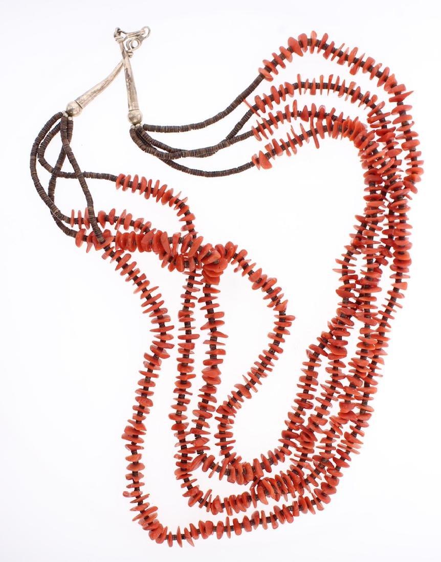 Vintage Coral Multi Strand Heishi Necklace