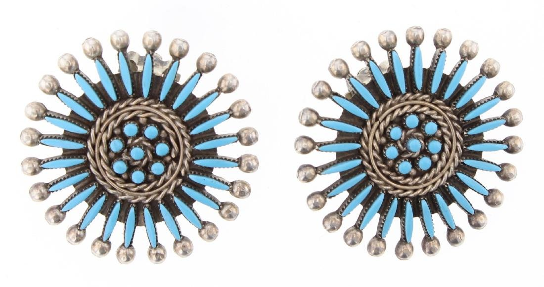 Pablito Vintage Turquoise Needlepoint Earrings