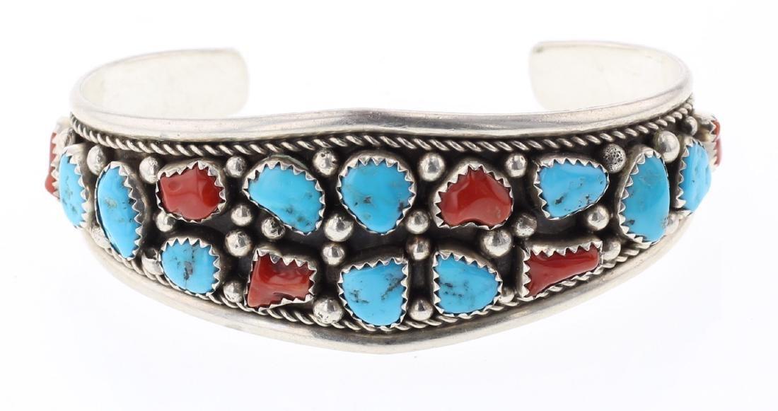 Vintage Turquoise & Coral Bracelet Traditional Bracelet