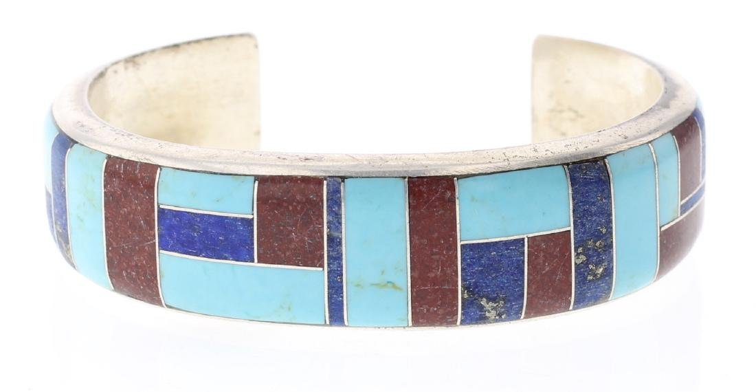 Block Multi Stone Inlay Vintage Bracelet