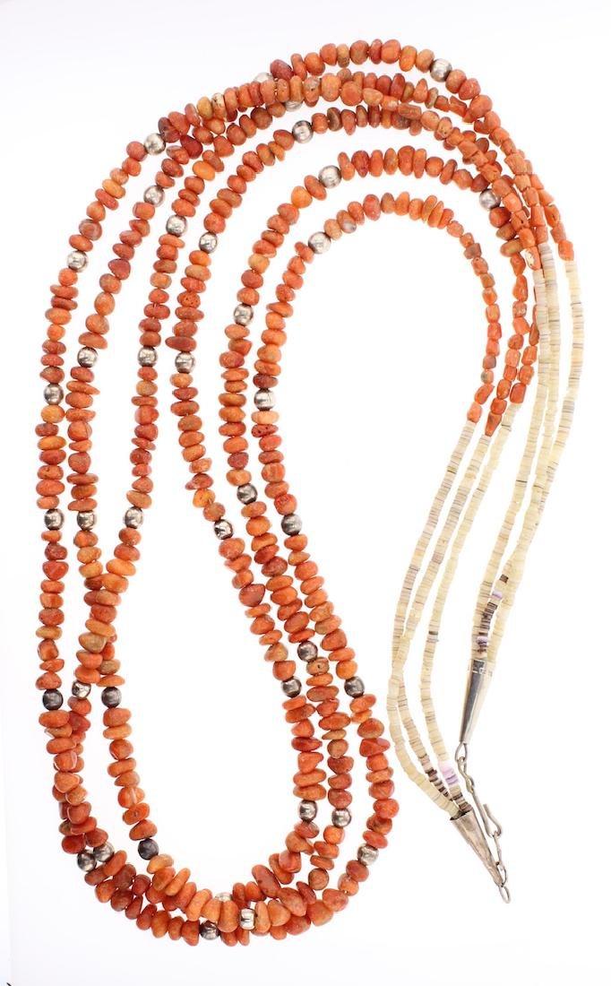 Genuine Coral Vintage Multi Strand Heishi Necklace