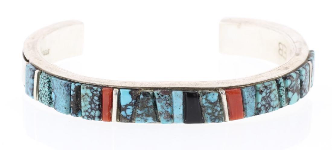 Turquoise & Coral Cobblestone Inlay Bracelet
