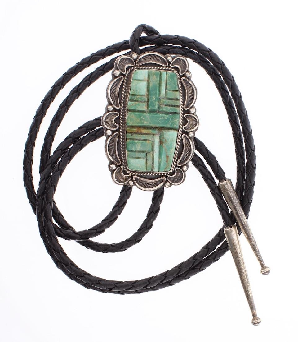 R. Boyd Vintage Cobblestone Inlay Turquoise Bolo Tie