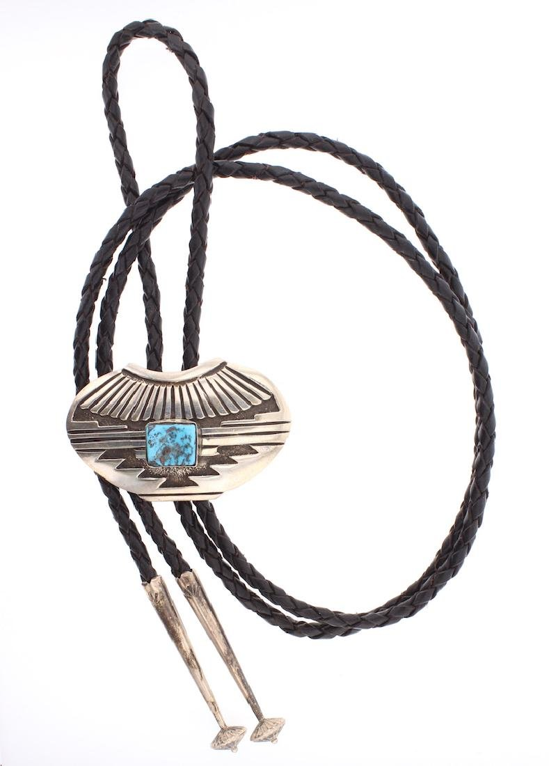 Turquoise Pottery Design Bolo Tie