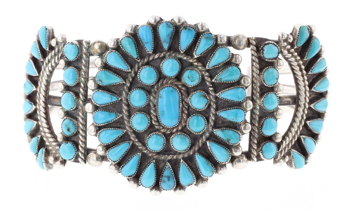 Vintage Old Pawn Turquoise Masterpiece Cluster Bracelet