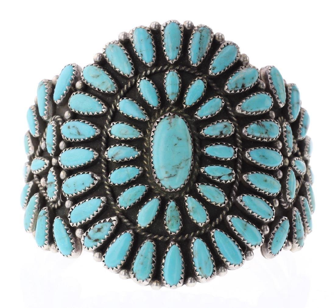 Vintage Turquoise Old Pawn Large Cluster Bracelet