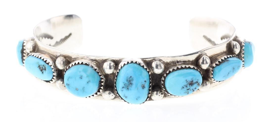 Turquoise Vintage inner Stamp  Bracelet