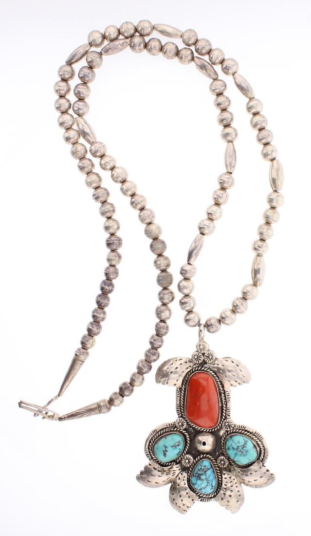Vintage Old Pawn Turquoise & Coral Bead Necklace &