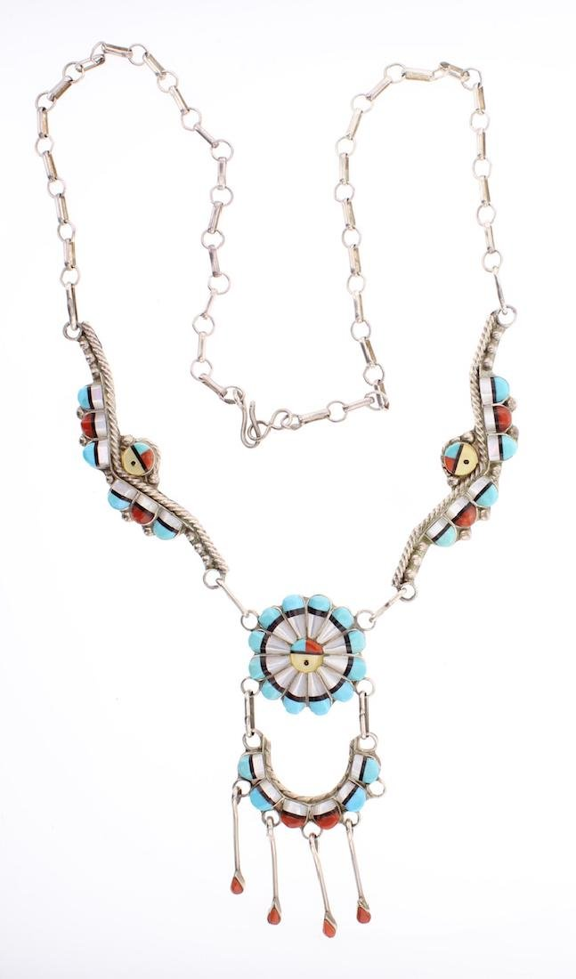 Vintage Multi Stone Inlay Necklace