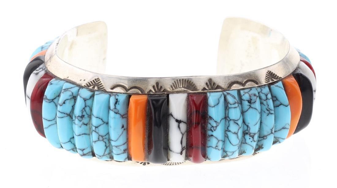 Nez Block multi Stone Inlay Vintage Bracelet