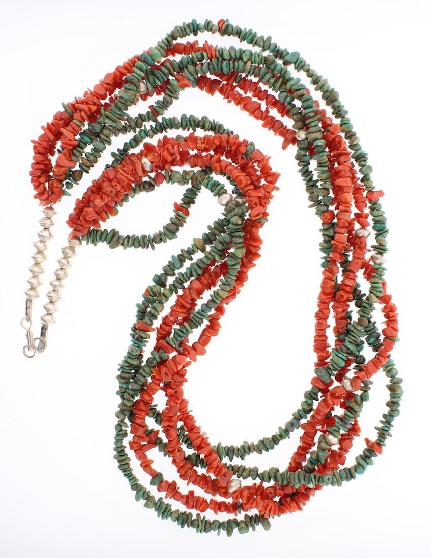 Vintage Turquoise & Coral Multi Strand Necklace