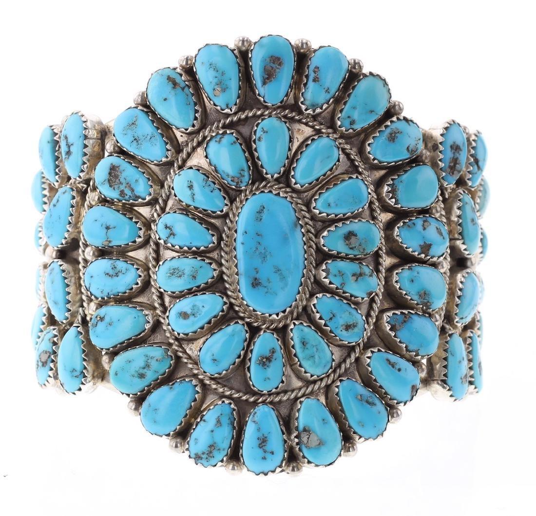 JMW Vintage Kingman Nugget Turquoise Cluster Bracelet