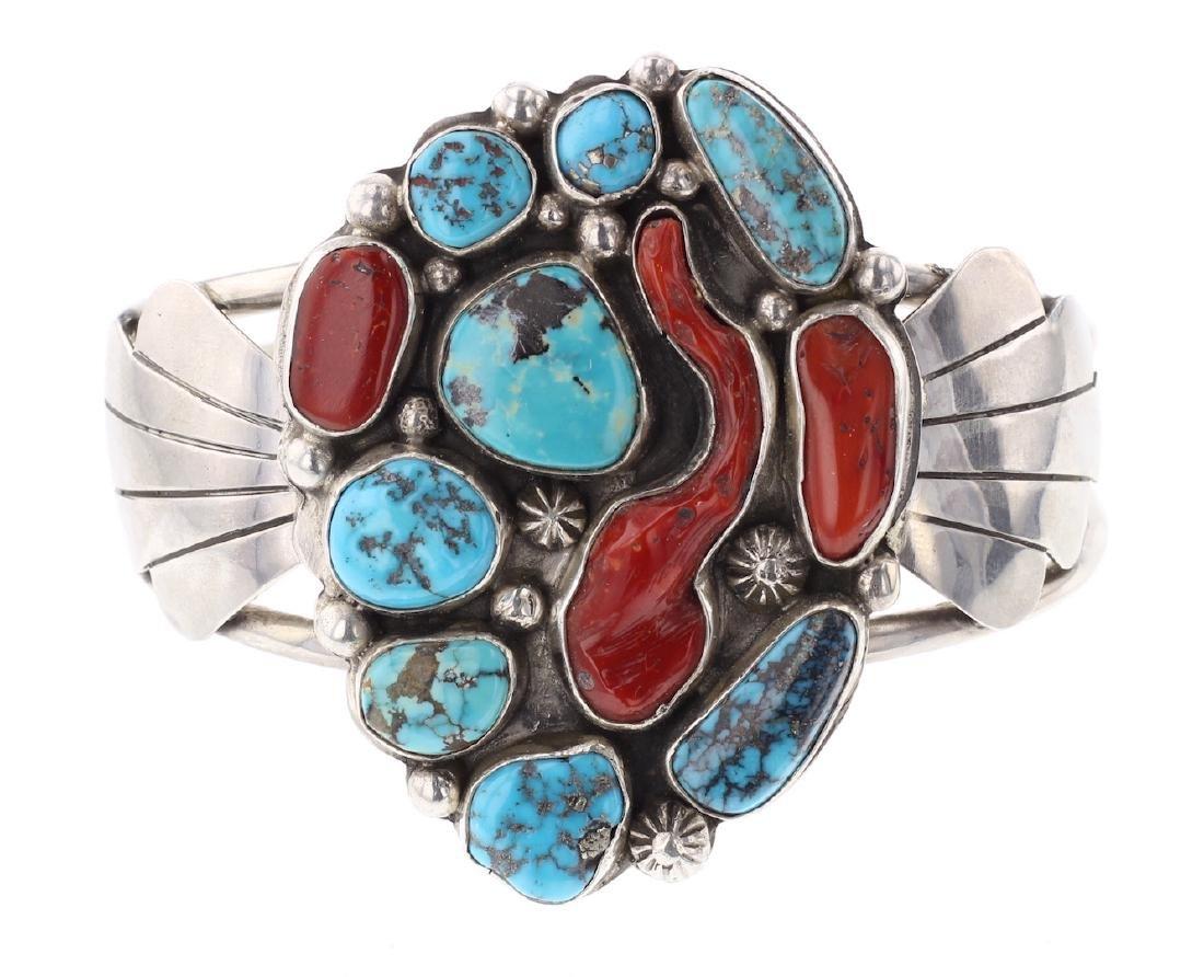 Vintage Old Pawn Free Form Turquoise & Coral Bracelet