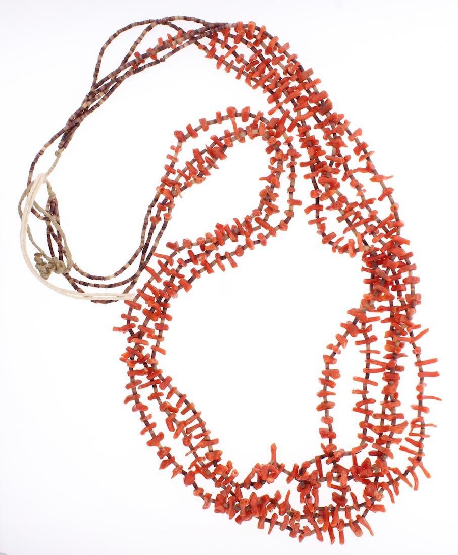 Genuine Coral Multi Strand Heishi Necklace