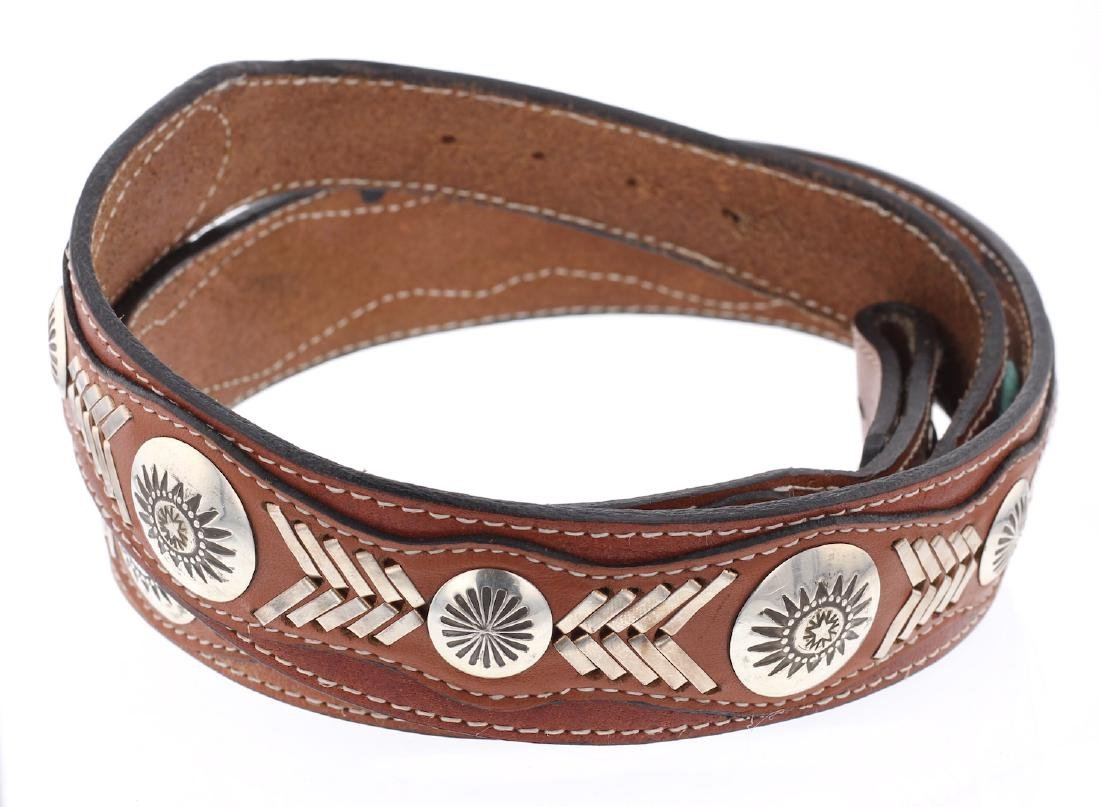 Sterling Silver Leather Concha Belt