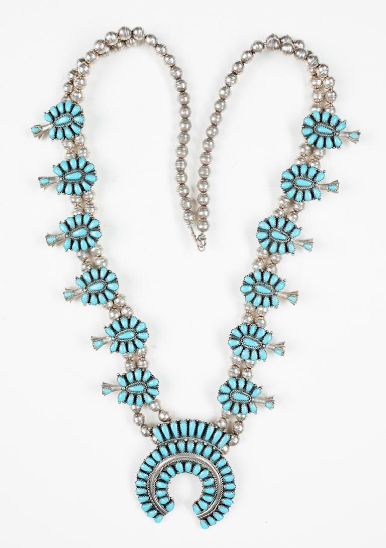 Block Turquoise Vintage Cluster Squash Blossom Necklace