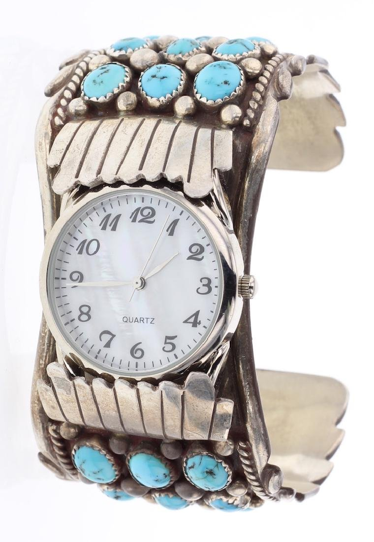 Vintage Old Pawn Turquoise Masterpiece Row Watch