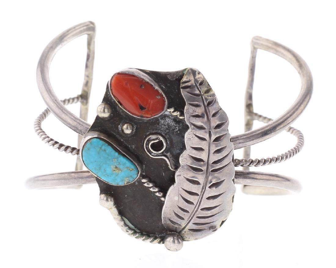 Vintage Turquoise & Coral Bracelet