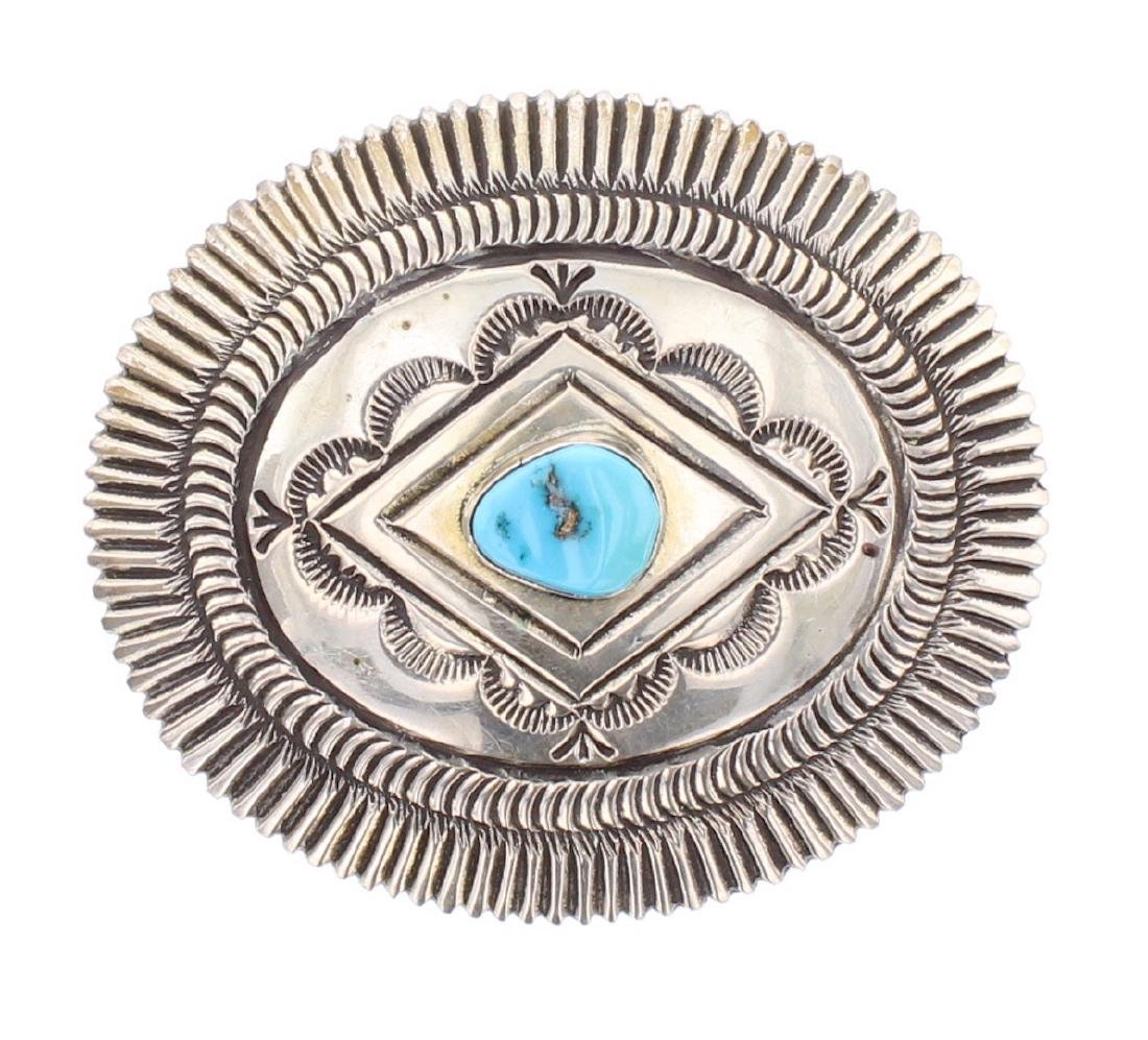 Vintage Turquoise Heavy Stamp Belt Buckle