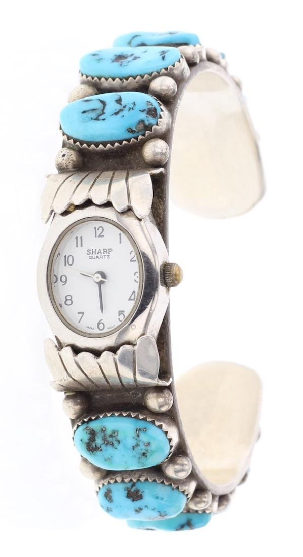 Sleeping Beauty Nugget Turquoise Vintage Watch Bracelet