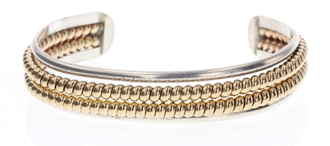 Vintage Twist Wire Gold Fill Double Row Bracelet