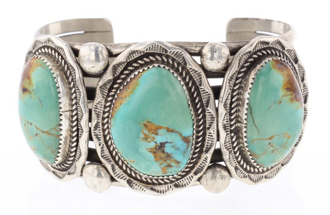 Vintage Turquoise Large Stone Masterpiece Bracelet