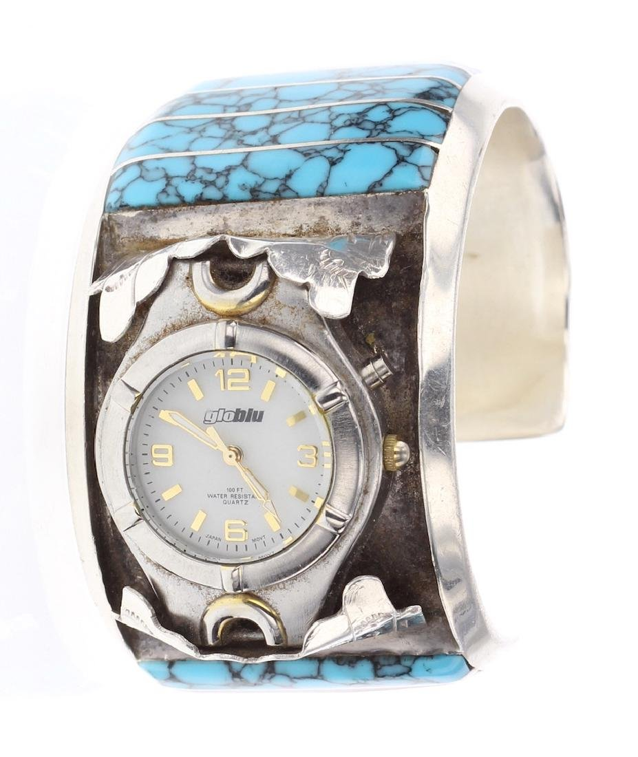Vintage Block Turquoise Inlay Watch Bracelet