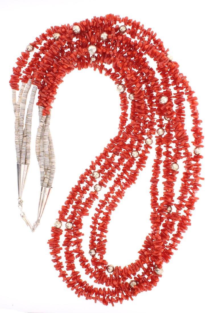 Vintage Coral Heishi Multi Strand Necklace
