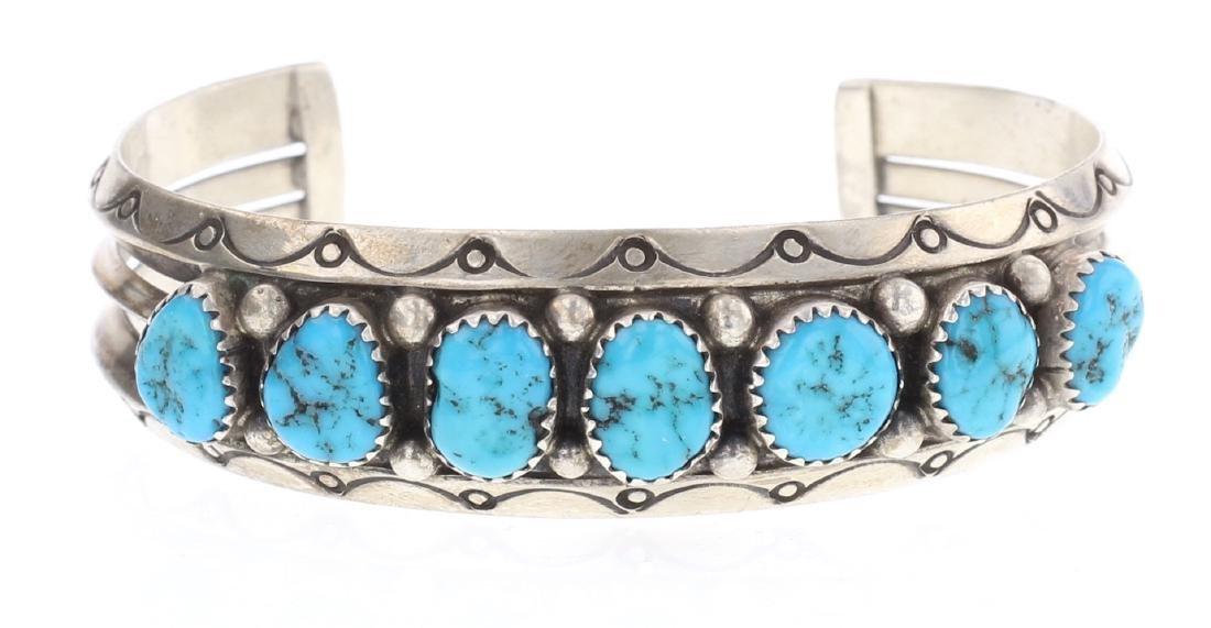 Sleeping Beauty Nugget Turquoise Vintage Bracelet