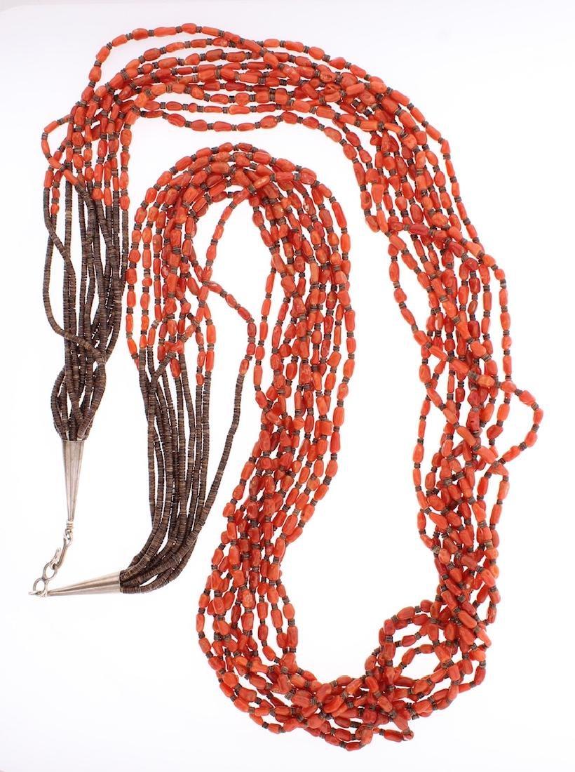 Vintage Coral Heishi Multi Strand Heishi Necklace