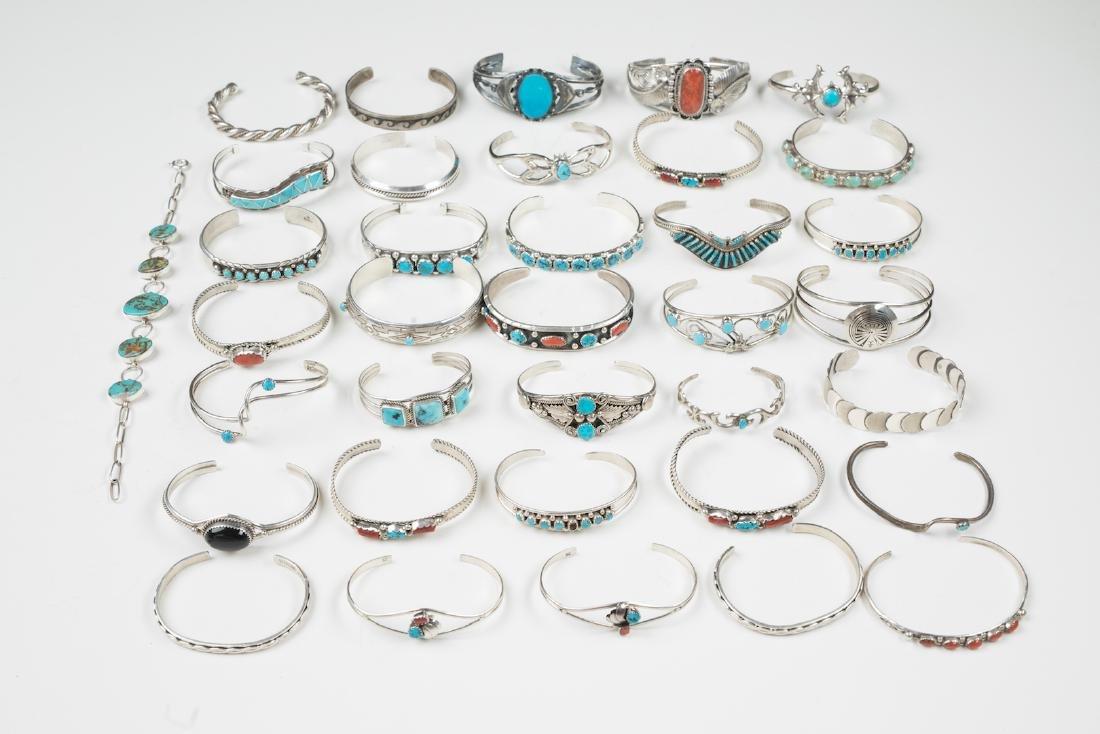 Vintage Turquoise & Coral Bracelet Lot of 36
