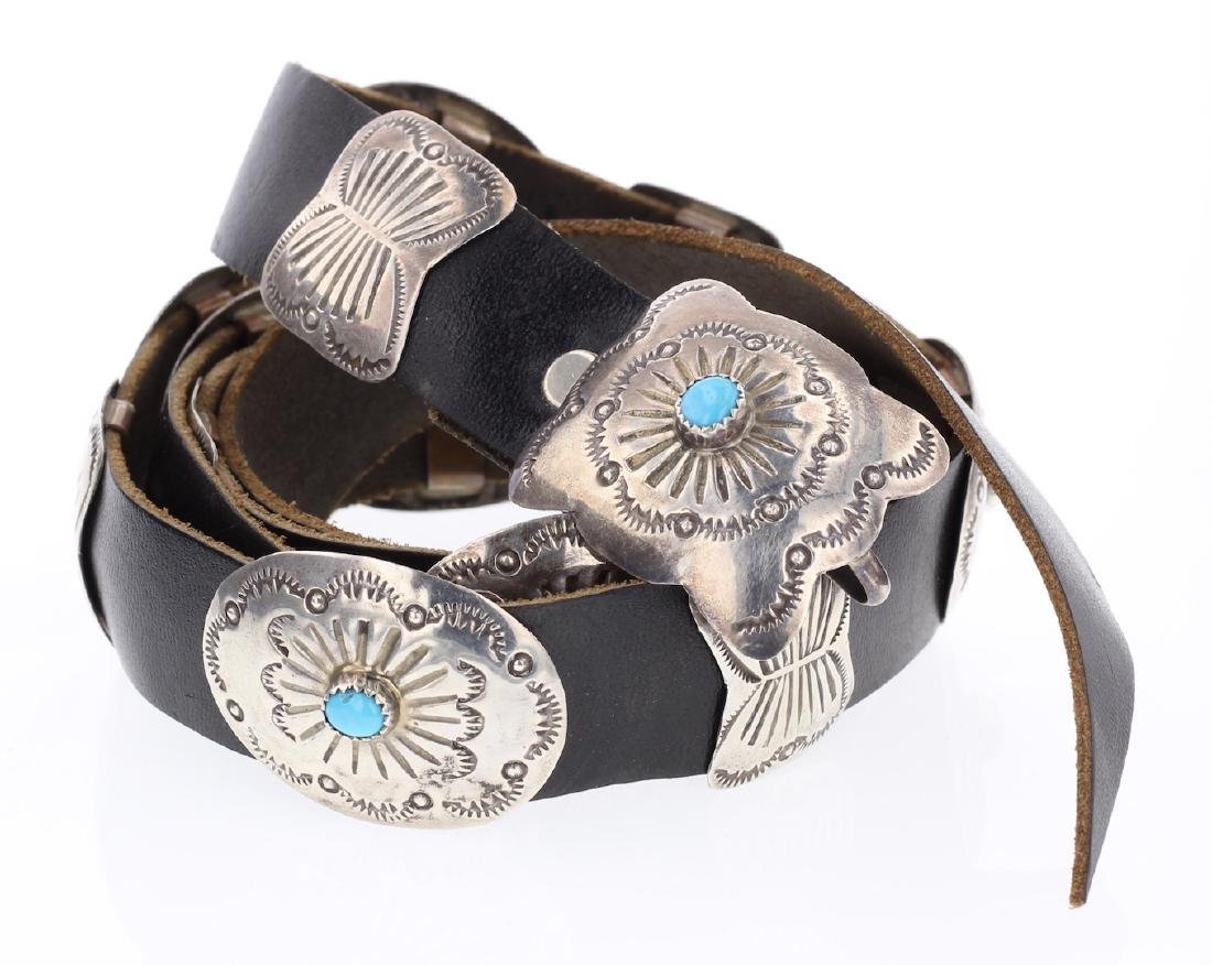 Vintage Turquoise Heavy Stamp Concho Belt